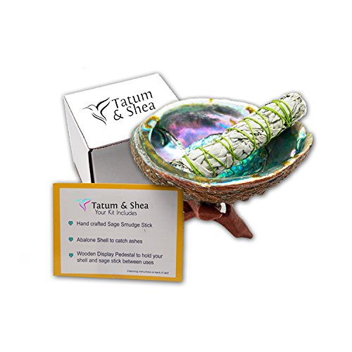 Tatum & Shea Smudging Kit with Abalone Shell, Wooden Tripod, White Sage Smudge Stick.(Full Size) From