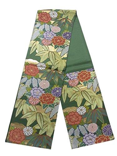許さない共同選択恐ろしいリサイクル 袋帯 笹に牡丹や菊の花 正絹 六通