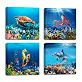 Bathroom Wall Decor Sea Turtle Octopus Dolphin Seahorse Marine Fish Coral Wall Pictures Blue Ocean Theme Canvas Wall Art Wall Decorations for Kids Bedroom Artwork for Walls 4 Piece Framed Wall Art