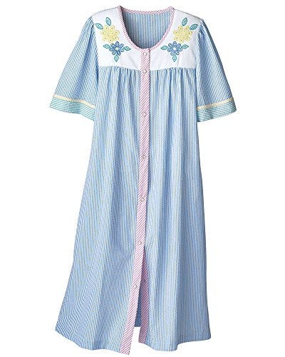 Size Cotton Robes Plus - National Seersucker House Coat, Blue, 2X