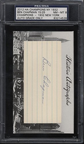2012 Historical Autographs Ben Chapman 15/25 NM/MT 8 Champions 1932 NY Yankees from Historical Autographs