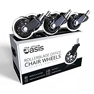 Office Chair Caster Wheels (Set of 5) – Heavy Duty & Safe for All Floors Including Hardwood – Perfect Replacement for Desk Floor Mat – Rollerblade Style w/Universal Fit
