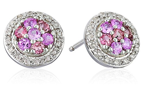 Pink Sapphire Tourmaline Ring - Sterling Silver, Pink Tourmaline, Pink Sapphire, and Diamond Stud Earrings