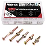 Hilitchi 100-Pcs M6 x 40 / 50 / 60 / 70 / 80mm Zinc Plated Hex Drive Socket Cap Furniture Barrel Screws Bolt Nuts Assortment Kit for Furniture Cots Beds Crib and Chairs