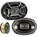 2X Polk 6x9 Inch 450W 3-Way Car/ Boat Coaxial Stereo Audio Speakers Marine DB692, Enrock Audio 14 AWG Gauge 50 Feet Speaker Wire Cable