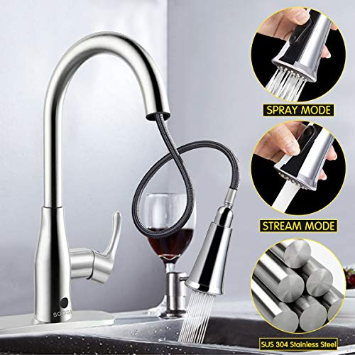 Kitchen Faucets,SOOSI Faucet Hands- Free Wave Sensor Single Lever Kitchen Sink Faucets Lead-free Solid Brass Kitchen Faucet with Pullout Sprayer Polished Chrome with Deck Plate,Resist Spot ()
