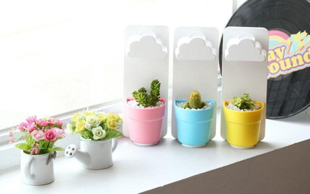 Foonee New Creative Indoor Wall-Hanging Mounted Cloud Rainy Flower Pot with Soil and Seeds for Garden Pot Home Decoration