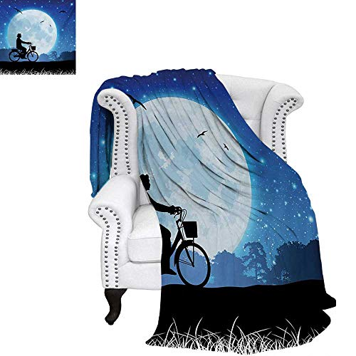 warmfamily Moon Summer Quilt Comforter Landscape Drawing Style with Silhouette of a Person Riding a Bicycle into Night Digital Printing Blanket 60