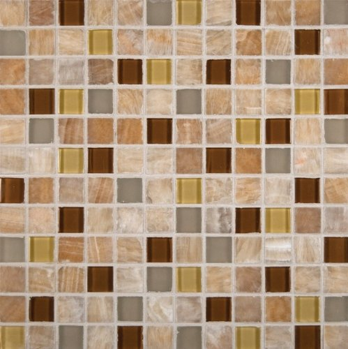 MS International Honey Onyx Caramel Mosaic 1 in. x 1 in. Glass-Stone Floor And Wall Tile - Box of 5 sqf