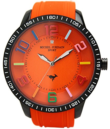 michel Jurdain watch sports 1P diamond Bikkufeisu silicon watch Orange × orange MJ-7700-8 Men's by michel Jurdain (Michel Jordan)