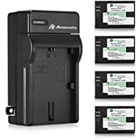 Powerextra Battery (4-Pack) and Charger for Canon LP-E6, LP-E6N Battery and Canon EOS 60D, EOS 70D, EOS 80D, EOS 5D II, EOS 5D III, EOS 5D IV, EOS 6D, EOS 6D Mark II, EOS 7D,EOS 7D Mark II Cameras