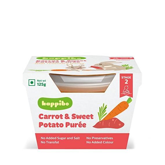 Happibo Carrot and Sweet Potato Food Puree Jar, 2 X 120 g
