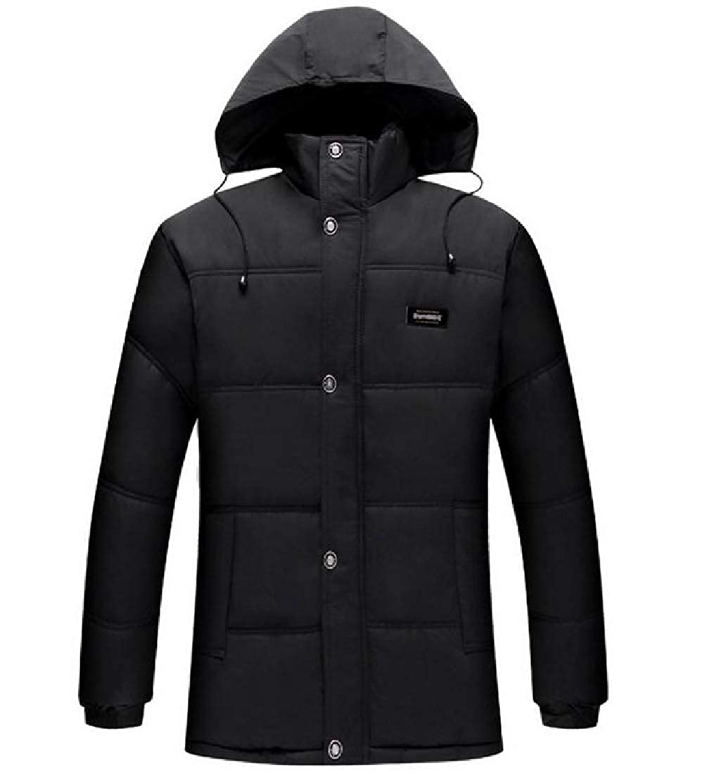 Abetteric Mens Thickened Fleece with Hood Brumal Warm Casual Outdoor Coat