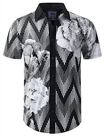 Urbancrews Mens Hipster Hip Hop Floral Short Sleeve Button