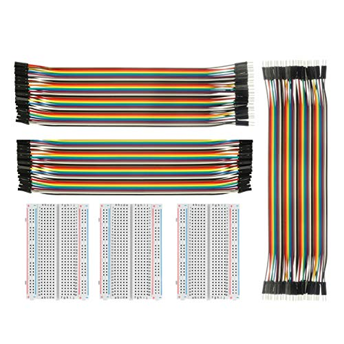 Breadboard Solderless With Jumper Cables Allus Bb 018 3pc 400 Pin Prototype Pcb Board And 3pc Dupont Jumper Wires Male Female Female Female Male Male For Raspberry Pi And Arduino