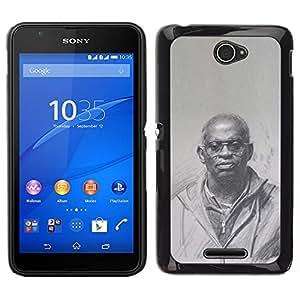 Caucho caso de Shell duro de la cubierta de accesorios de protección BY RAYDREAMMM - Sony Xperia E4 - historial negro rey cultura dios sacerdote