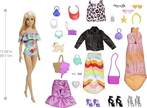 Barbie Advent Calendar with Barbie Doll (12-in), 24 Surprises Including Day-to-Night Trendy Clothing & Accessories, Festive Holiday Themed Packaging for Kids 3 to 7 Years Old