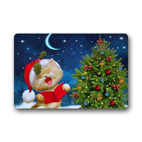 (Indoor/Outdoor Doormat Door Mats - Funny Cute Cat Sings Christmas Song Lovely Design (Moon/Stars / Christmas Tree))