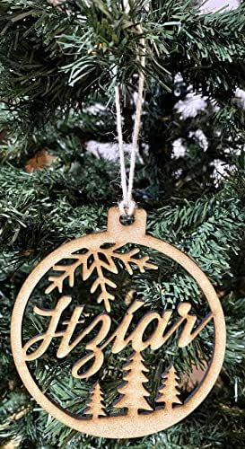 Bola de Navidad personalizada con nombre. 100% en madera MDF. Diseñado, vendido y enviado por VPM Original. 100% Producto español.