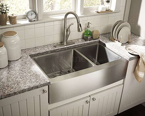 Zuhne 33 Inch Farmhouse Apron 60/40 Deep Double Bowl 16 Gauge Stainless Steel Luxury Kitchen Sink by Zuhne (Image #1)