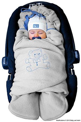 ByBoom - Manta arrullo de invierno para bebe, es ideal para sillas de coche (p.ej. de las marcas Maxi-Cosi y Romer), para cochecitos de bebe, sillas de paseo o cunas; LA MANTA ARRULLO ORIGINAL CON EL OSO, Color:Gris/Azul