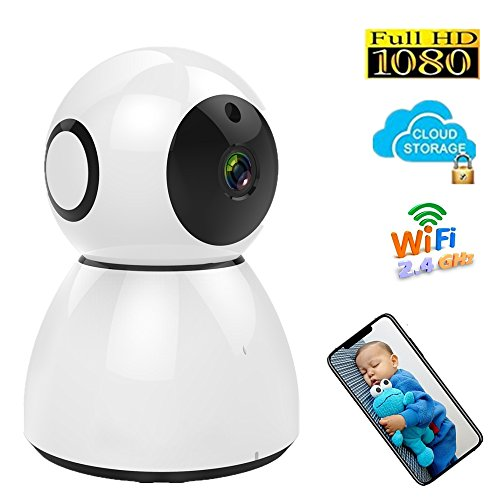 Home Security Camera, Wireless Wifi 1080P Surveillance Camera, Baby Monitor, Optional Cloud Storage, Dome Cam, Pet Camera/ Monitor, Motion/Sound Alert, Pan/Tilt, Two way Audio, Night Vision by Zeetopin