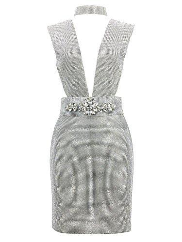 S Curve Women's Sleeveless Deep V Neck Rhinestone Mini Dress With Crystal Floral Belt Silver Small Rhinestone Dress With Crystals