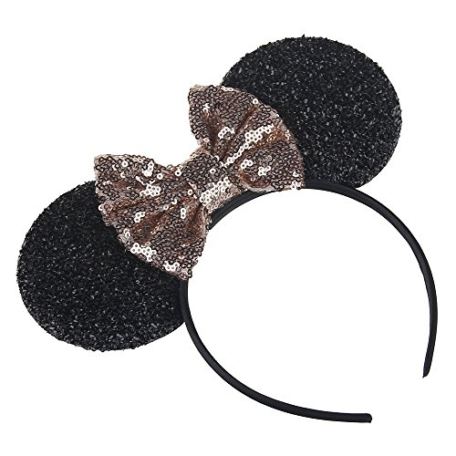 Price comparison product image Kewl Fashion Sequins Bowknot Mickey Mouse Ear Headband Headwear for Travel Festivals (Orange Pink)
