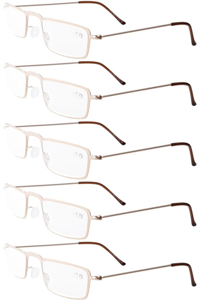 Eyekepper 5-Pack Stainless Steel Frame Half-eye Style Reading Glasses Readers Gunmetal +2.75