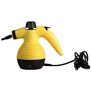 GOFLAME Steam Cleaner 1050W Handled Multi-Purpose Powerful Steam, Sanitizer, Steamer, Steam Iron, Remove Stains/Grease from Bathroom, Kitchen (Yellow)