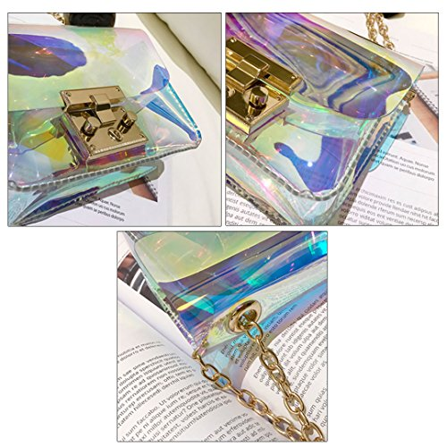 Millya Pack Bag Colorful Purse Chain colorful Laser Shoulder See Women Boby Hologram Clear Through Bag Cross rxrfw46n1q