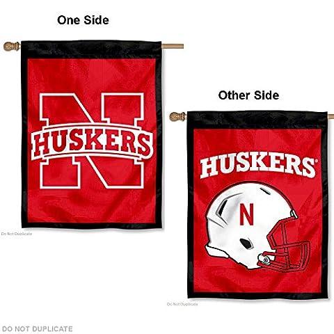 Nebraska Huskers Helmet Double Sided House Flag - Double Sided Pole