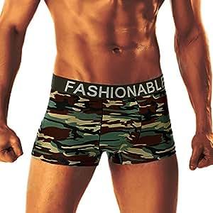Elogoog Men's Sports Shorts Sexy Camouflage Military Low Rise U Pouch Underwear Boxer Brief