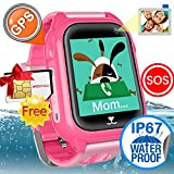 Waterproof IP67 Kids Smart Watch Accurate GPS Tracker with FREE SIM CARD for Kid Boys Girls Smartwatch Phone watch Game watch with SOS Call Camera Electronic Learning Toys Birthday Gift iCooLive