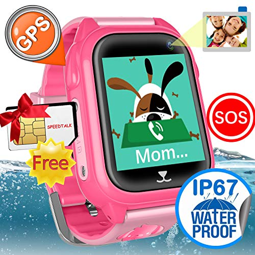 (Waterproof IP67 Kids Smart Watch Accurate GPS Tracker with FREE SIM CARD for Kid Boys Girls Smartwatch Phone watch Game watch with SOS Call Camera Electronic Learning Toys Birthday Gift iCooLive)