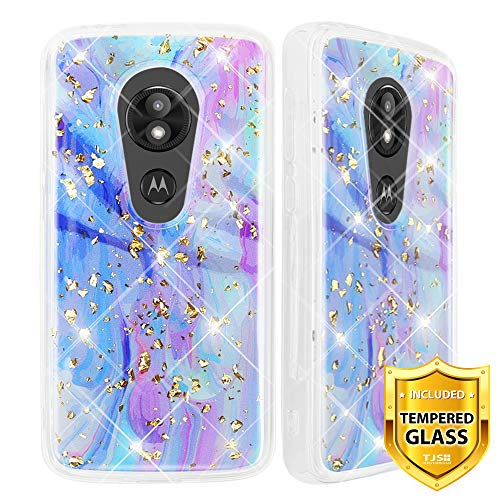 TJS Motorola Moto E5 Play / E5 Cruise/E Play 5th Gen Case, with [Tempered Glass Screen Protector] Shiny Marble Glitter Ultra Thin Back Skin Full Body Protective Soft TPU Rubber Bumper Case (Colorful)
