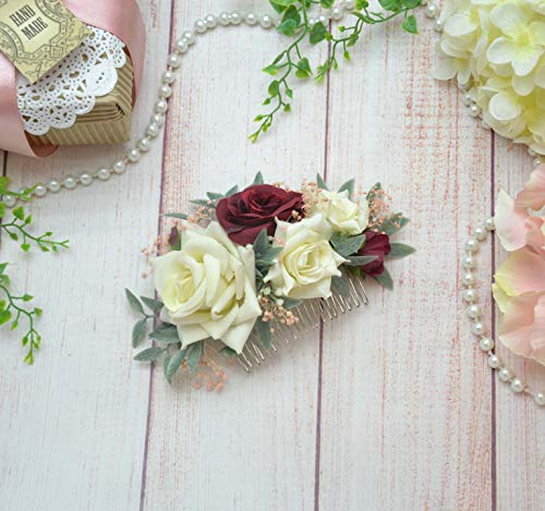 Ivory burgundy flower bridal comb Wedding floral comb Bride headpiece with flowers by OlgasCreativeStudio