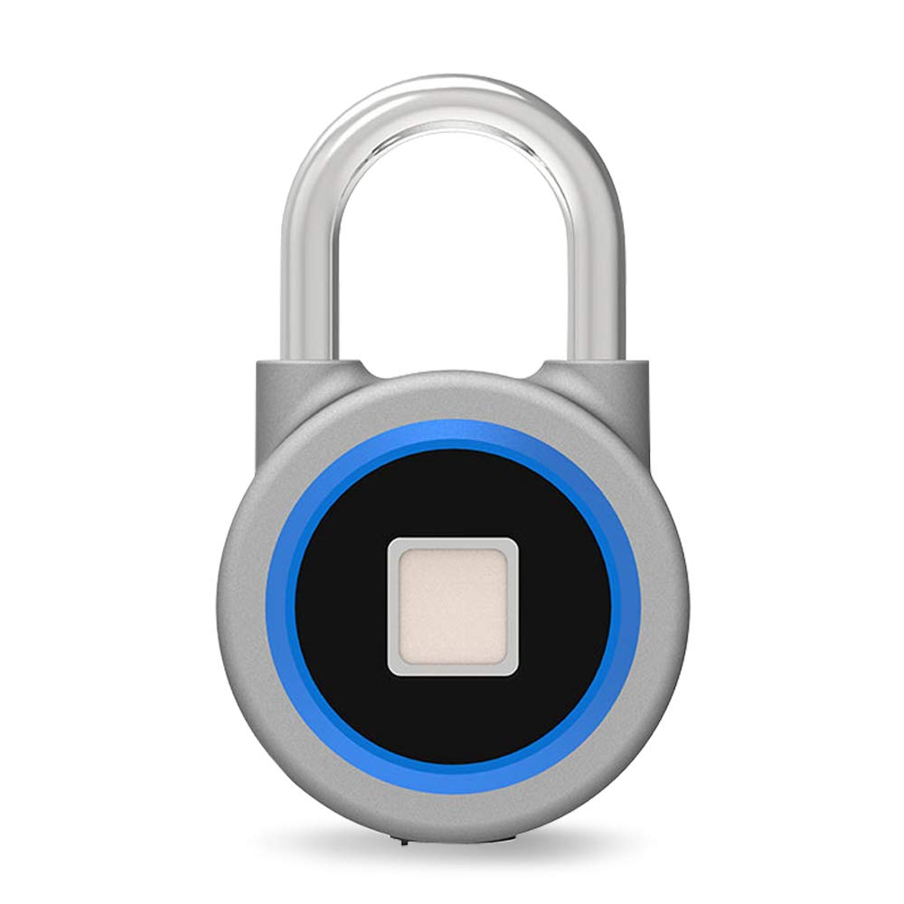 Fingerprint Bluetooth Padlock,Chargeable Wireless Quick Access Keyless Padlock IP65 Waterproof for Indoor and Outdoor Use - Blue