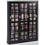 Leslie Dame Enterprises Leslie Dame Sliding Glass 3 Door Multimedia Storage Cabinet In Black