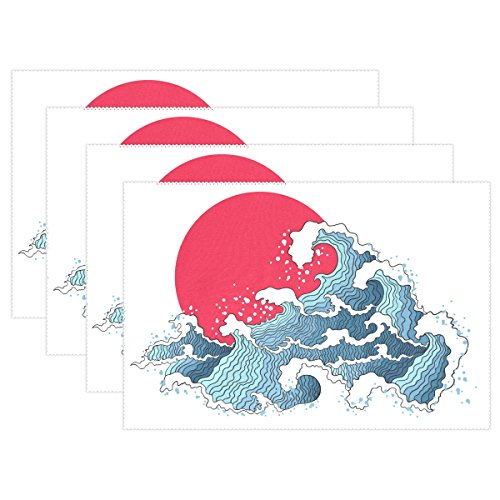 MOCK ST Japanese Asian Illustration Of Ocean Waves And Sun Place Mat Table Mat for Kitchen Dining Room Heat Insulation Anti-skid Home Decor by Place Mat 12 x 18 inches Set of 6 by MOCK ST