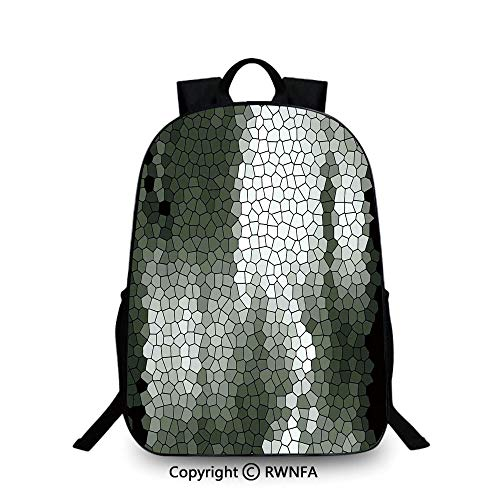School Backpack,Artistic Mosaic Pattern Green and White Tones Geometric Graphic Pixelated Texture Backpack Cool Children Bookbag, Multicolor