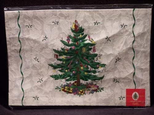 Amazon Com Spode Christmas Tree Cloth Placemats Set Of 4 By Spode Kitchen Dining