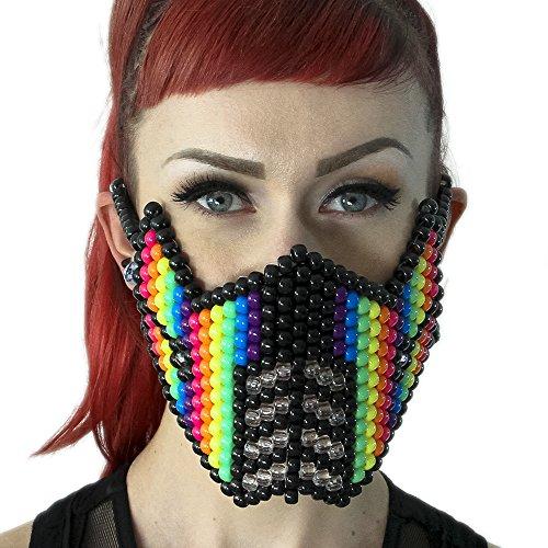 """Masque Kandi """"Sub-Zéro Arc-en-ciel"""" - Kandi Gear, masque pour rave party, masque pour Halloween, masque de perle pour festivals de musique et fêtes"""
