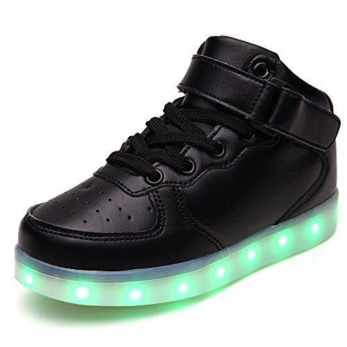 quality design 9dee4 1b9bd Vilocy Kids Boys Girls High Top USB Charging 7 Colors LED Luminous Light Up  Sport Shoes