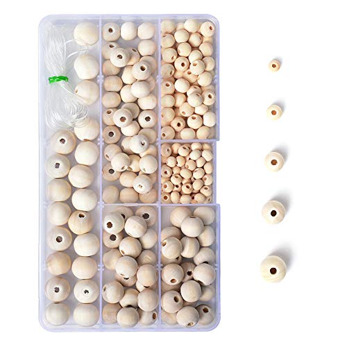 R.FLOWER Natural Wood Beads Round Ball Wooden Loose Beads Unfinished Wood Spacer Beads for DIY Jewelry Making Bracelet Spacer Charms Supplies (Set 1 (5 Sizes))