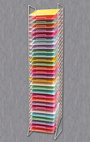 Scrapbook Paper Rack Tower White Organizer Storage Display 30-slot -12''x12'' New by Unknown