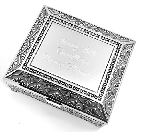 Newfavors Personalized Jewelry Box with 3 Lines Text Engraving - Engraved 4 Inch Antique Jewelry Box Bridesmaid or Flower Girl Gift ()