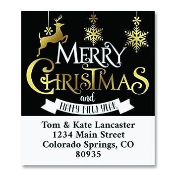 amazon com festive holiday christmas personalized return address