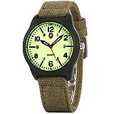 Wrist Watch, Unisex Sports Waterproof Military Luminous Analog Quartz Army Green Canvas Strap Bracelet