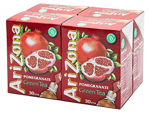 AriZona Pomegranate Green Tea Iced Tea, 30 Count Box (Pack of 4), Low Calorie Single Serving Drink Powder Packets, Just Add Water for a Deliciously Refreshing Iced Tea Beverage (Arizona Green Iced Tea)